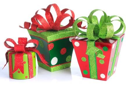 Christmas presents, studio isolated on white.  스톡 콘텐츠
