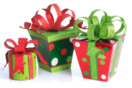 decoration: Christmas presents, studio isolated on white.  Stock Photo