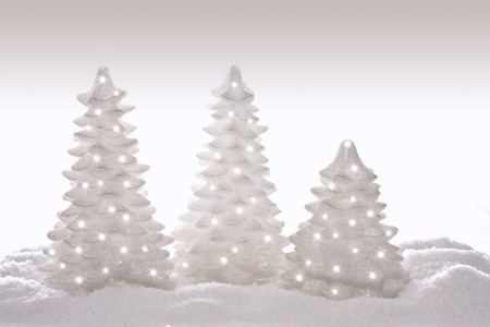 silver: Sparkly glitter Christmas trees in silver and white.