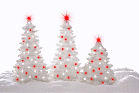 the modern: Contemporary sparkle Christmas trees.  Stock Photo