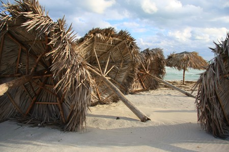 Hurricane damage on a Caribbean beach.