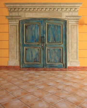 Painted vintage double doors.  photo