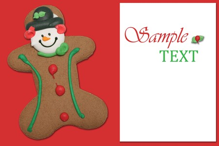 gingerbread man: Gingerbread man on red background.  Stock Photo
