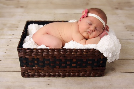 nude little girls: Baby girl, asleep in a basket.