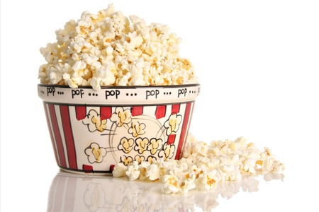 Popcorn, studio isolated on white.  Banco de Imagens