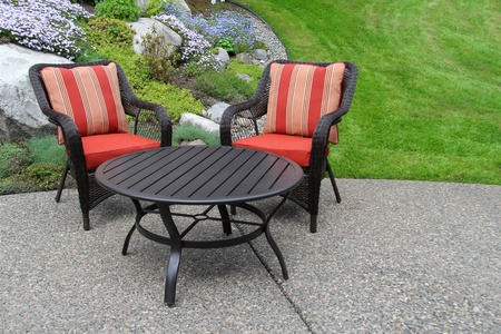furniture: Patio furniture in the garden.