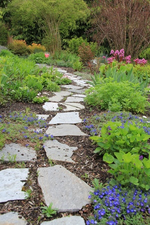 Beautiful paved stone walkway in a spring garden.  photo