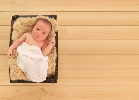 white wood floor: Newborn baby boy awake in a basket.