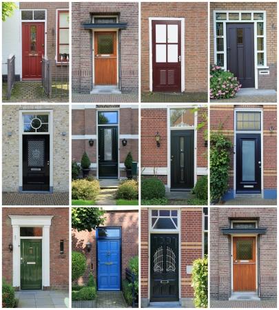 Collage van Nederlandse voordeuren.