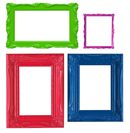 Four contemporary picture frames in high resolution vibrant colors.  photo