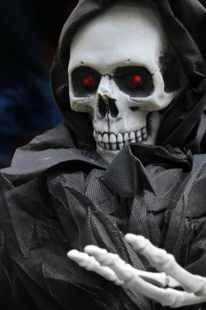 frightening: Grim reaper, scary halloween skeleton.  Stock Photo
