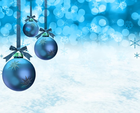 decoration: Christmas ornaments on a snow background.
