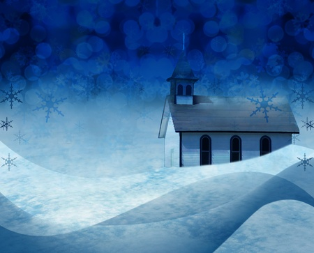 christmas church: Festive Christmas church snow scene