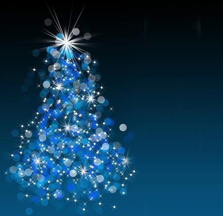 turquesa: Bokeh espumoso ilustración del árbol de Navidad.