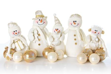 christmas snow man family on white. Stock Photo - 11123320
