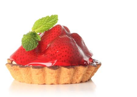 Fresh fruit pie tart with strawberry.