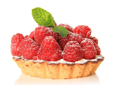 Fresh fruit pie tart with with raspberry photo