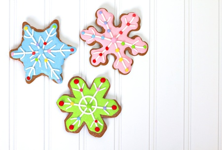 room for text: Christmas decorated gingerbread sugar cookies.