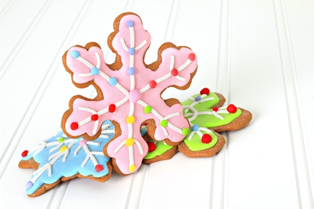 room for text: Christmas decorated gingerbread sugar cookies. Also available in vertical.