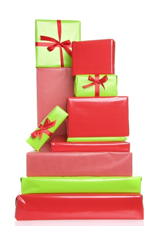 Christmas presents in red and green. Also available in horizontal.  photo