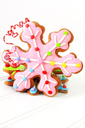 Christmas decorated gingerbread sugar cookies.