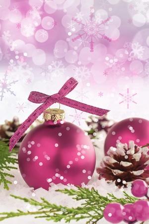 Pink Christmas ornament snow scene.