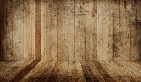 Western cedar plank floor and wall. Add your own objects.  Stock Photo - 11476688