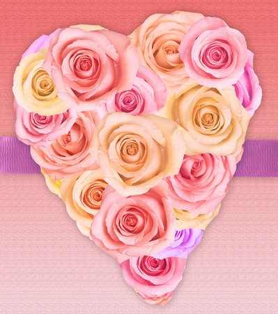 Pastel colored roses in a heart shape for valentines day.  photo