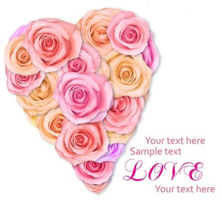 flor de durazno: Rosas suaves rosadas dispuestas en forma de corazón. Foto de archivo