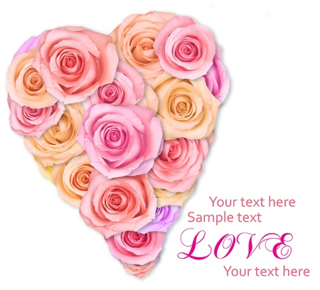 Soft pink roses arranged in a heart shape. Stock Photo - 12028378