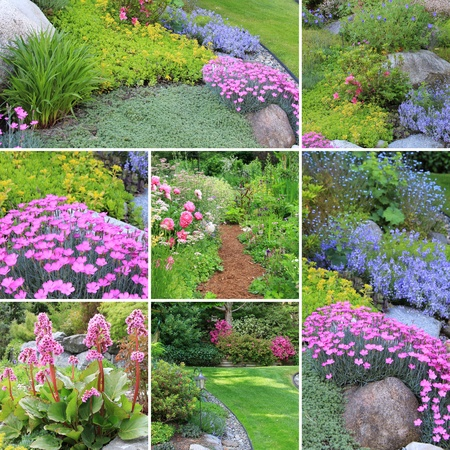 Collage of beautiful gardens in spring.  Stock Photo