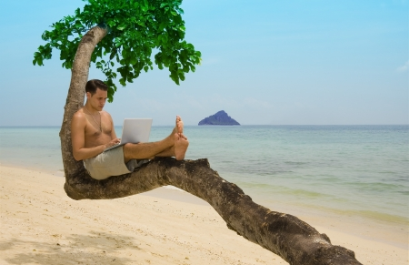 Attractive man with laptop seated in a tree on a tropical beach   photo