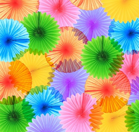 vibrant colors: Background of colorful paper fans  Stock Photo