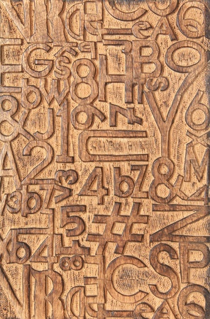 letterpress letters: Letters and numbers carved into a wooden block