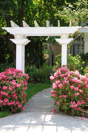 gazebo: Pretty garden arbor with pink flowers  Also available in horizontal