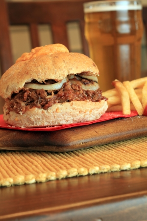 Pulled pork sandwich with fries  Also available in horizontal