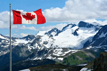 canadian flag: Rocky mountains at Whistler, Canada