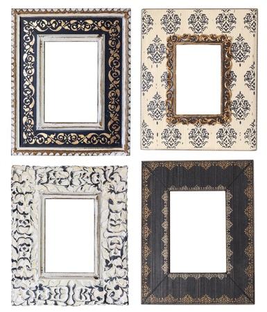 marco blanco y negro: Cuatro marcos de los cuadros de �poca, el estudio aislado