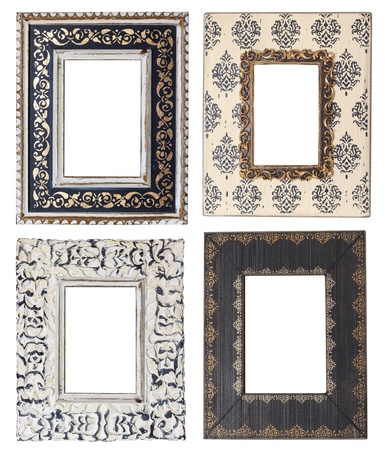 retro: Four vintage picture frames, studio isolated   Stock Photo