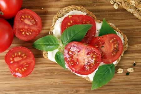Tomato and basil summer sandwich  photo
