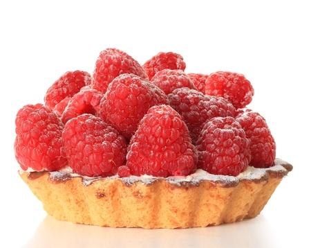 Raspberry tart, studio isolated on white   photo