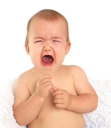 niño llorando: Adorable bebé de diez meses llanto niña