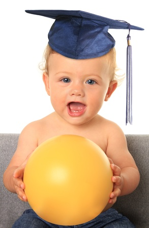 Baby with mortar board  Add your own text on the yellow ball Stock Photo - 14859952