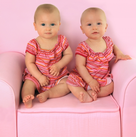 Identical twin baby girls, 10 months old   photo