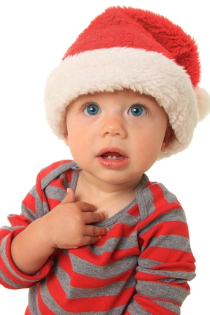 Adorable ten month old baby boy wearing a Santa hat. Stock Photo - 15256026