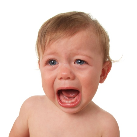 tantrum: Crying baby boy, studio isolated on white.  Stock Photo