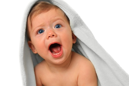 Screaming baby boy, ten months old   Stock Photo - 15291481