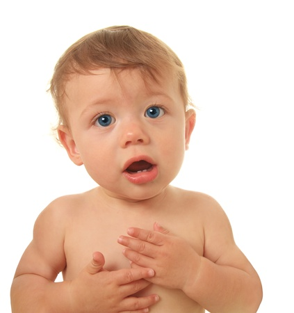 Adorable ten month old baby boy talking.  Stock Photo - 15291492