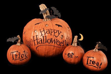 Happy Halloween, trick or treat, pumpkin display Stock Photo - 15630618