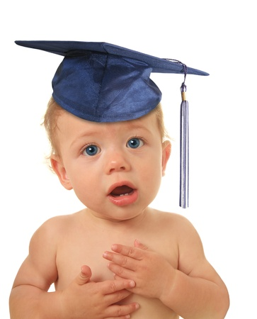 Adorable ten month old baby boy wearing a mortar board   photo